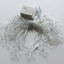 Wholesale Xmas Usb - Christmas tree decoration Snowflake LED strip 10M 100 LEDS Xmas decoration string US plug  Eu plug  USB 5V  Dry battery operated