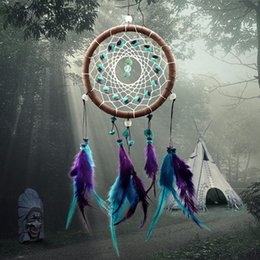 Wholesale Hanging Room Decorations Wedding - Antique Imitation Enchanted Forest Dreamcatcher Gift Handmade Dream Catcher Net With Feathers Wall Hanging Decoration Ornament