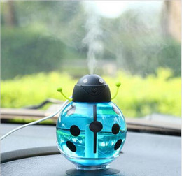 Wholesale Usb For Cartoon - 2016 New Mini USB Portable Ultrasonic Beetles Humidifier Air Diffuser Mist Maker DC 5V ABS Bottle Led Light For Home Office Car