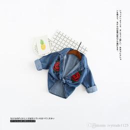 Wholesale Baby Girl Denim Blouse - 2017 INS NEW ARRIVAL Boys Girls Kids blouse long Sleeve turn down collar double rose shirt kid causal denim baby kid cool casual shirt