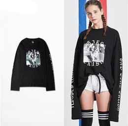 Wholesale Funny Retro Shirts - Korean 2017 brand Bad Girl Crush printed long sleeve Casual t shirt Youth Hip Hop retro Funny Tee extended sleeve lovers tops