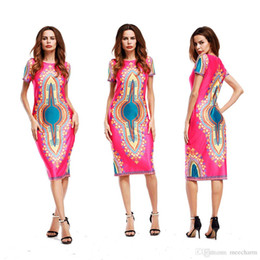 Wholesale Patterned Shift Dress - guangzhou china apparel industry women short sleeve summer style african dashiki printed pattern midi shift dresses