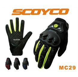 Wholesale Motor Bike Racing Gloves - Wholesale- Hot Sales Scoyco mc29 Motorcycle full Finger Glove Rubber Shell Racing Gloves Motor bike Guantes