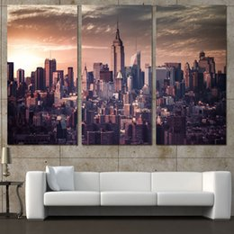 Wholesale Canvas Wall Art New York - 3 Pcs Set Framed HD Printed City New York Buildings Picture Wall Art Canvas Print Decor Poster Canvas Modern Oil Painting