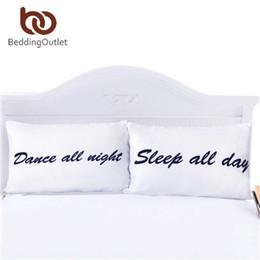 Wholesale Funny Pillowcases - Wholesale- BeddingOutlet Sleep All Day and Dance All Night Pillowcases Funny Couple Pillow Shams 1 Pair 50cmx75cm 50cmx90cm Pillow Case