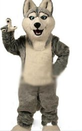 Wholesale Husky Wolf Cartoon - 2016 Fancy Gray Dog Husky Dog With The Appearance Of Wolf Mascot Costume Mascotte Adult Cartoon Character Party