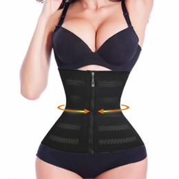 Wholesale Wholesale Waist Trainer Weight Loss - Wholesale- Zipper Waist Trainer Slimming Belt Shapewear Belly Waist Cincher Control Corsets Tummy Girdle Weight Loss Belt Body Shaper