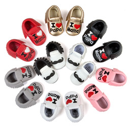 Wholesale Embroider Baby - Kids shoes new baby I LOVE Mama soft shoes baby embroidered comfortable toddler shoes kids first walkers Valentine's day Baby moccasin 6139