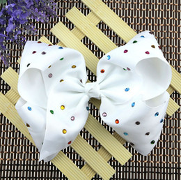 Wholesale Hair Bows Claw Clips - 9 style JOJO Princess Bowknot Ribbon printing Head Clip 8 inch large ribbed bowknot clip Christmas Halloween show head flower L205