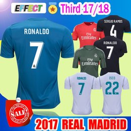 Wholesale Madrid Soccer Jerseys - 2017 Real Madrid soccer Jersey ASENSIO 17 18 RONALDO home white away Black Third Maillot de foot BALE RAMOS ISCO XXL football shirts
