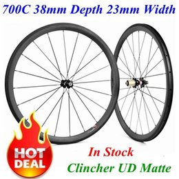 Wholesale road wheelset disc - In Stock 700C 38mm Depth 23mm Width Full Carbon Road Bike Bicycle Wheels Wheelset UD Matte Clincher Novatec Disc Powerway Hubs For Choice
