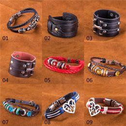 Wholesale Girls Watch Sets - mixed order 50pcs lot 1pcs model pu leather steampunk bracelets infinite believe love watch charms leather bracelets for women girls #BA161