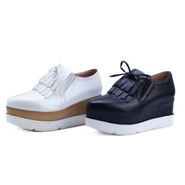 Wholesale Wedge Creepers - Fashion Hide Heels Wedges Tassels Casual Shoes Woman Lace Up Ladies Shoes Women Creepers Black White Platform Shoes