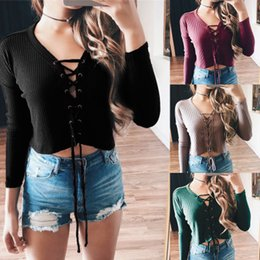 Wholesale Womens Warm Winter Sweaters - 2017 Europe and united states winter Womens Lace up Tops Long Sleeve Crop Tops Solid Women Warm Sweater Shirt