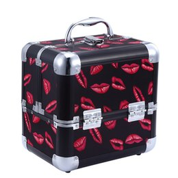 Wholesale Makeup Train Cases - Red Lips Cosmetic Case Makeup Train Cases Containers for Cosmetics Organizer Bags Women Tote Bags Make Up Beauty Box Multifunctional