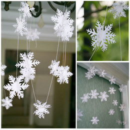 Wholesale Wholesale Paper Snowflake Decorations - Frozen Party Supplies 3M Silver White Snowflake Shape Paper Garland Christmas Wedding Decoration Scene New Year Decor ZA3612
