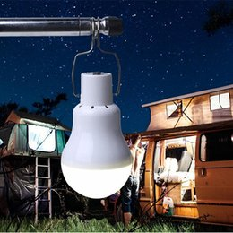 Wholesale Led Battery Bulb - Wholesale-1500mah Lithium Battery Rechargeable Solar Powered LED Bulb Lamp+Solar Panel for Fishing Camping Home Emergency Light
