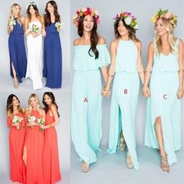 Wholesale Bohemian Off Shoulder Dress Chiffon - 2018 New Summer Beach Bohemian Bridesmaid Dresses Mixed Chiffon Split Side Custom Made Maid Of Honor Sexy Boho Party Gowns Cheap for sale