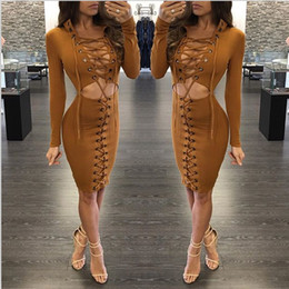 Milho americano on-line-2017 Moda Corn Bandage V Profundo Pescoço Mini Vestido Elegante Mulheres Europeus Estilo Hot Clubwear Sexy Oco Out Party Club vestidos