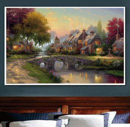 Wholesale Frames Cross Stitch - Flower Country Landscape Print Diamond Embroidery DIY Needlework Diamond Painting Cross Stitch 5D Rhinestones Home Decor Without Frame