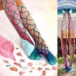 Wholesale Best Funny Gifts - 50pcs 2017 New Women Mermaid Socks Funny Beach Socks Festival Cosplay Grils Fish Scale Pattern Casual knee Socks Best Gifts ZL3268