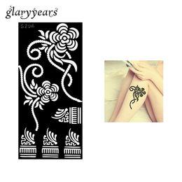 Wholesale Tattoos Ladies Legs - Wholesale-1 Piece Flower Pattern Henna Tattoo Stencil Henna Paste Drawing Sexy Lady Leg Art Airbrush Painting Tattoo Stencil Fashion S296