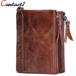 Wholesale Vintage Clutch Bag Price - Wholesale- CONTACT'S Genuine Leather Men Wallet Coin Purse Card Holder Zipper Small Clutch Bags Famous Brand Dollar Price Walet Money Bag