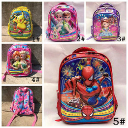 Wholesale Spiderman Kids Bags - Kids school Backpack full print Pikachu poke frozen spiderman children school bags for boys and girls students gifts DHL free