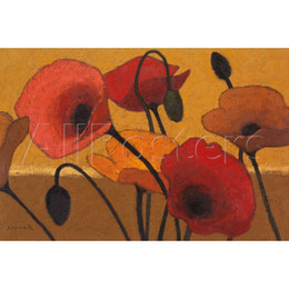 Wholesale Art Curries - Abstract flower art Poppy Curry by Shirley Novak Oil Painting High quality Hand painted