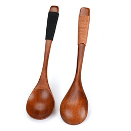 Wholesale Catering Tools - Wholesale- 1PC 14cm Wooden Spoon Bamboo Kitchen Cooking Utensil Tool Soup Teaspoon Catering Spoon