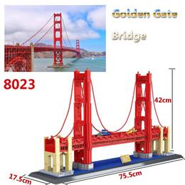 Wholesale Large Toy Bricks - 8023 Golden Gate Bridge Model toy 1511Pcs World Great Architecture Large Wange Building Blocks Toy Bricks Compatible lepin