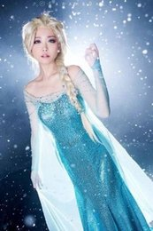 Wholesale Theatrical Wedding Dresses - Frozen Adults dress Trailing dress Frozen Sequins Stage suit anime Halloween Adult wedding dresses game animation role play Theatrical dr