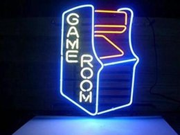"Wholesale Residential Glass Walls - 17"" x 14""NEW LOGO GAMEROOM RETRO Real Glass Neon Light Sign Home Beer Bar Pub Recreation Room Game Lights Windows Garage Wall Signs"