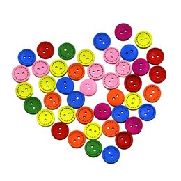Wholesale Colorful Sewing Buttons - 300Pcs 2 Holes Colorful Mixed Round Wooden Buttons 15mm Sewing DIY Craft Christmas Gift Scrapbooking