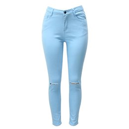 Wholesale Button Hole Elastic - Wholesale- Multi-color Slim Jeans for Women 2016 Autumn Winter Hot Sale High-elastic Thicken Skinny Denim Pants Sexy Hole Pencil Pants 3XL