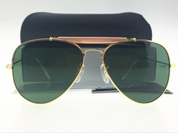 Wholesale Gold Frame Half Glasses - 2017 Fashion Pilot Sunglasses For Mens Womens Outdoorsman Sun Glasses Eyewear Gold Green Lens 62mm Glass Lenses With Packagings