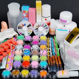 Wholesale Acrylic Glitters Powder - Wholesale- New Pro New Acrylic Powder Nail Kit Glitter Base gel Primer Liquid 75ml nail Deco Tips File Glue Brush Form Nail Art Tools Kit