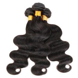 cheveux vierges crus bon marché Promotion 3 Bundles Brésiliens Body Wave Weave Pas Cher Couleur 1B Noir Raw Virgin Indien Malaisien Péruvien Cambodgien Chinois Trame de Cheveux Humains