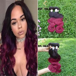 Wholesale Hair Color Pieces Black Red - Ombre Human Hair Extensions Raw Virgin Brazilian Peruvian Malaysian Indian Body Wave Lighter Red Black 2 Two Tone Ombre Hair Weave Bundles