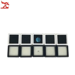Wholesale Diamonds Box Packaging - 100Pcs Plastic Loose Diamond Display Package Box Square White Gem Case Black Memory Foam Pad Beads Pendant Box Showcase 3*3*2cm
