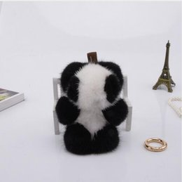 Wholesale Mink Car - Genuine mini 8cm mink Fur Keychain fashion Soft Fur panda Key ring bag Pendant gift pendant car accessories key rings plush toy