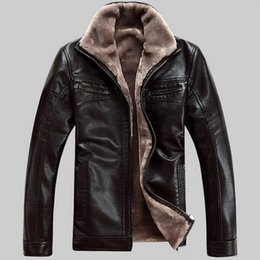 Wholesale Fashion Leather Garments - Fashion Winter Men's Thick Leather Garment Casual flocking Leather Jacket Men's Clothing Leather Jacket free shipping