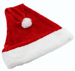 Wholesale Plush Costumes For Adults - High-grade Christmas Hat Adult Christmas Party Cap Red Plush Hat For Santa Claus Costume Christmas Decoration gift WA1499