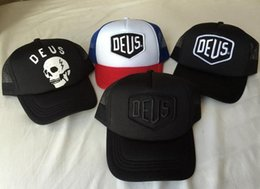 Wholesale Trucker Hat Embroidery - 2017 New style DEUS ICON Embroidery Logo Cap Men Women sport Sunless Adjustable 6 panel Baseball Caps Snapback trucker dad Hat Free shipping