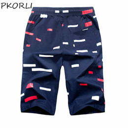 Wholesale Mens Beach Shorts Fashion - Wholesale- Shorts Men 2017 Summer Fashion Mens Shorts Casual Cotton Print Slim Bermuda Masculina Knee Length Beach Shorts Joggers Trousers
