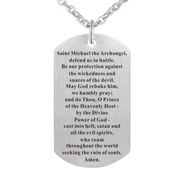 Wholesale Michael Necklace - Stainless Steel Pendant Necklace Religious St Michael The Archangel Prayer Medal Handmade Dog Tag Charm Keyring Jewelry Gift