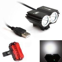 Wholesale Rear Light Solar - Solar Storm 5000LM X2 CREE XM-L T6 USB Waterproof LED Bicycle Headlight + Bicycle Rear Light BLL_01E