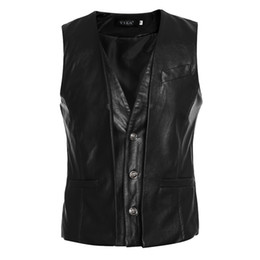 Wholesale Mens Synthetic Leather Jacket - Wholesale- 2016 New Brands Mens Jacket Sleeveless veste homme Fashion Casual Pima A Male Men's Vest Slim men Waistcoat large size XXL