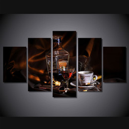 Wholesale Modern Wine Abstract Art Canvas - 5Pcs Set Framed HD Printed Wine Coffee Cigar Wall Art Print Poster Pictures Modern Canvas Abstract Oil Painting