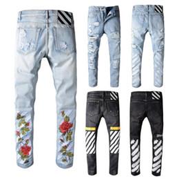 Wholesale Destroyed Jeans Long - Men's Distress Ripped Biker Jeans Embroidery Jeans Blue Black Famous Brand Designer Mens harem pants Destroyed Denim Hip Hop Pants For Men